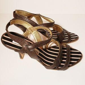 Christian Lacroix Slingback Leather Sandals
